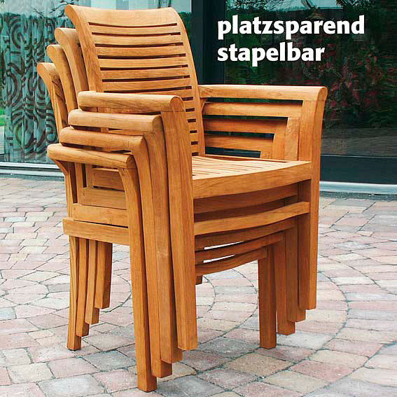 teak sitzgruppe winston 6 st hle bali tisch von g rtner p tschke. Black Bedroom Furniture Sets. Home Design Ideas