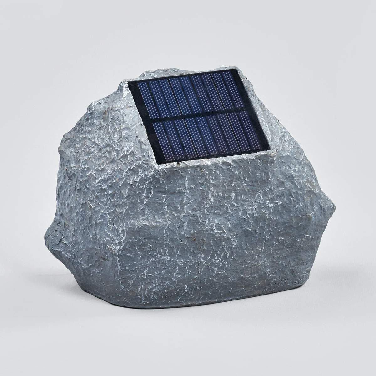 Solar-LED-Leuchtstein Lior, 16x19,5x14 cm, grau | #5