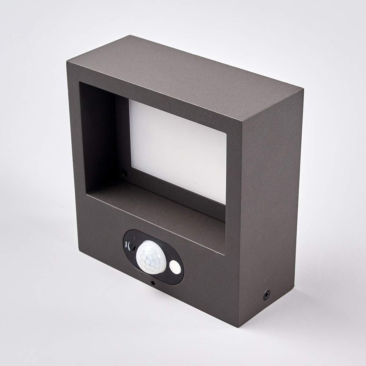 Solar-Led-Außenwandleuchte Mahra mit Bewegungsmelder, 6x14,5x14,5 cm, Aluminium, grau | #5