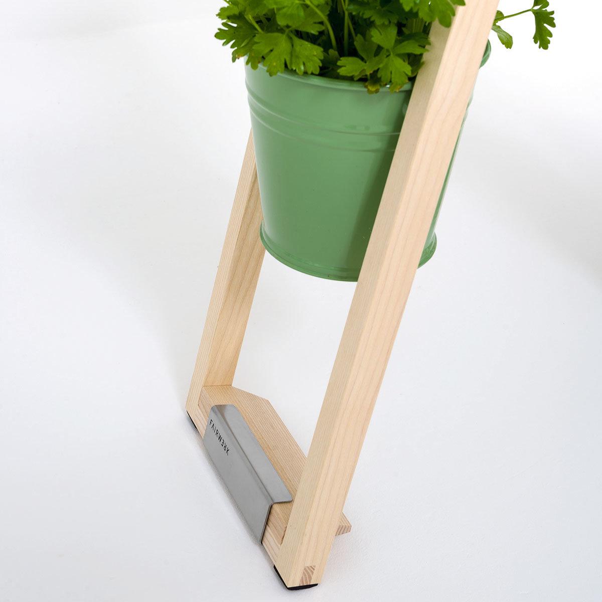 Pflanzleiter mit Topf 2-in-1 ,238x22x42 cm, Eschenholz, blassgrün | #5
