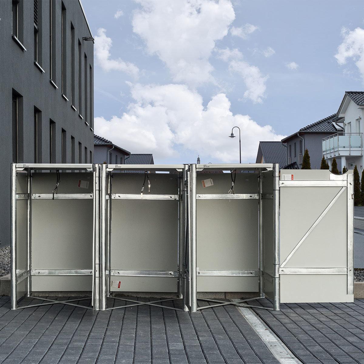 Mülltonnenbox 240l Kunststoff, 3er Box, grau | #5