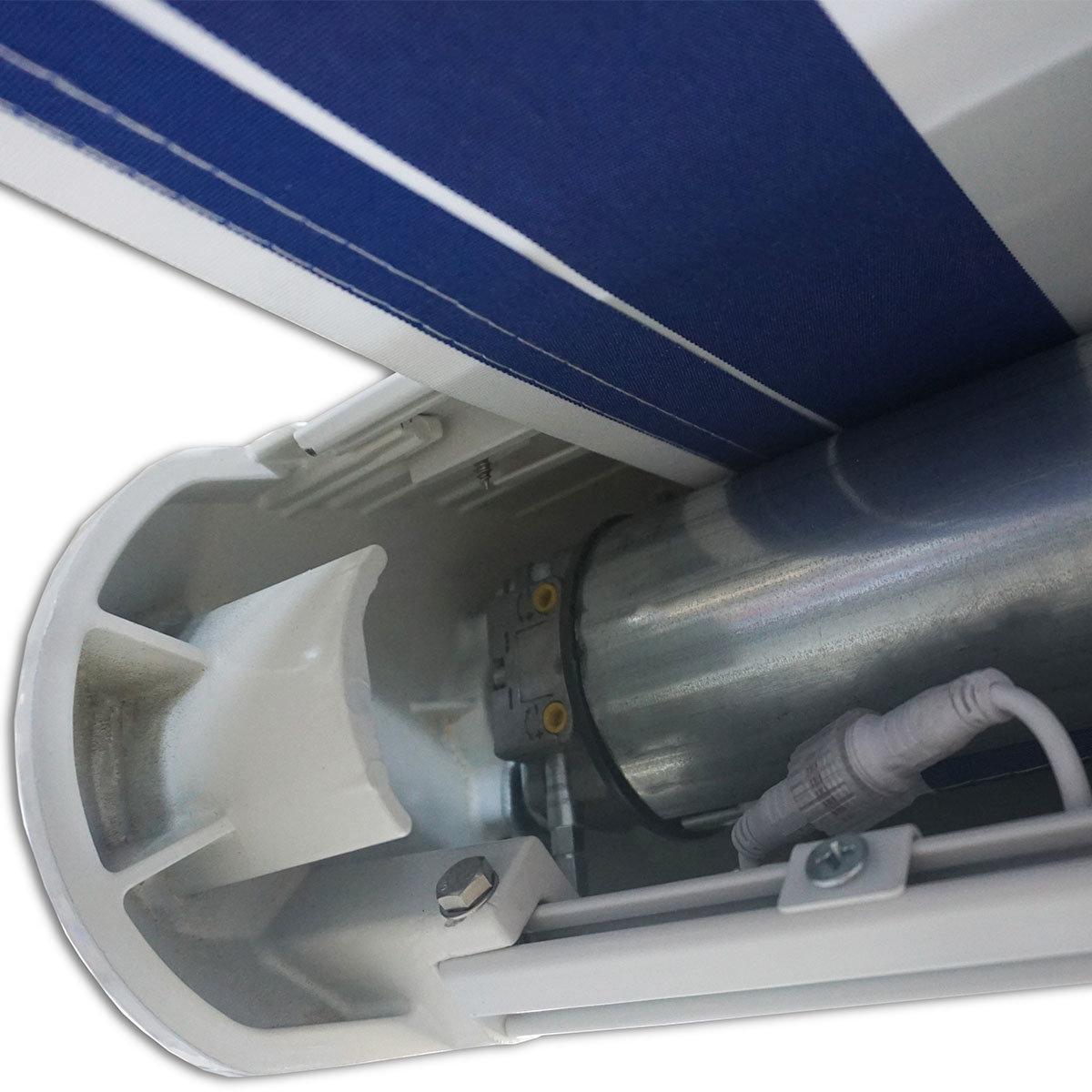 Vollelektrische Kassettenmarkise Elos V2 marineblau-weiß 500 x 300 cm mit Windsensor | #5