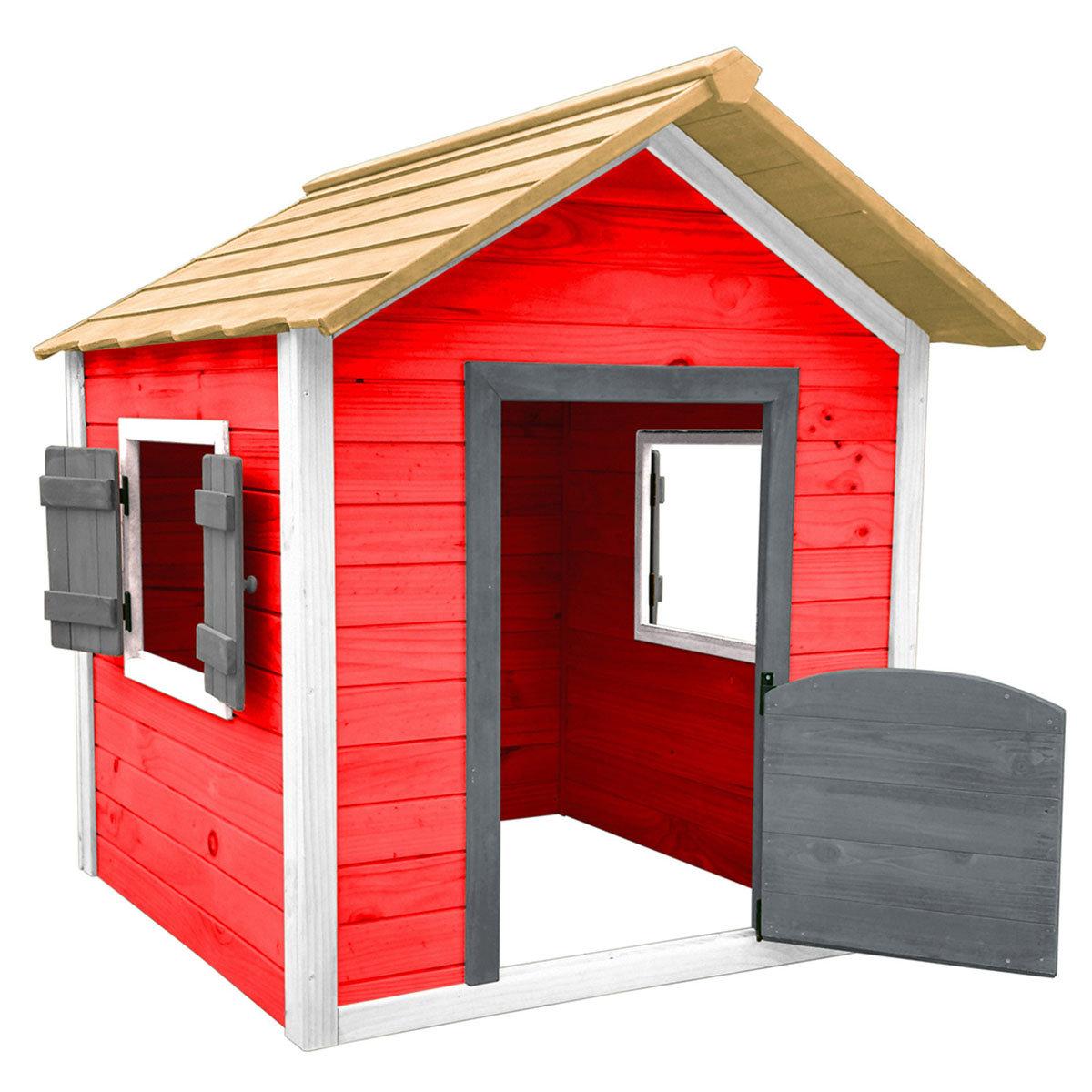 Kinder Spielhaus kleines Schloss, rot und weiß lasiert, ca. 138 x 118 x 132,5 cm | #5