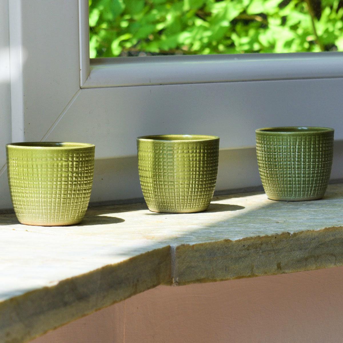 3er-Set Keramik-Übertöpfe 6cm, Grün | #5