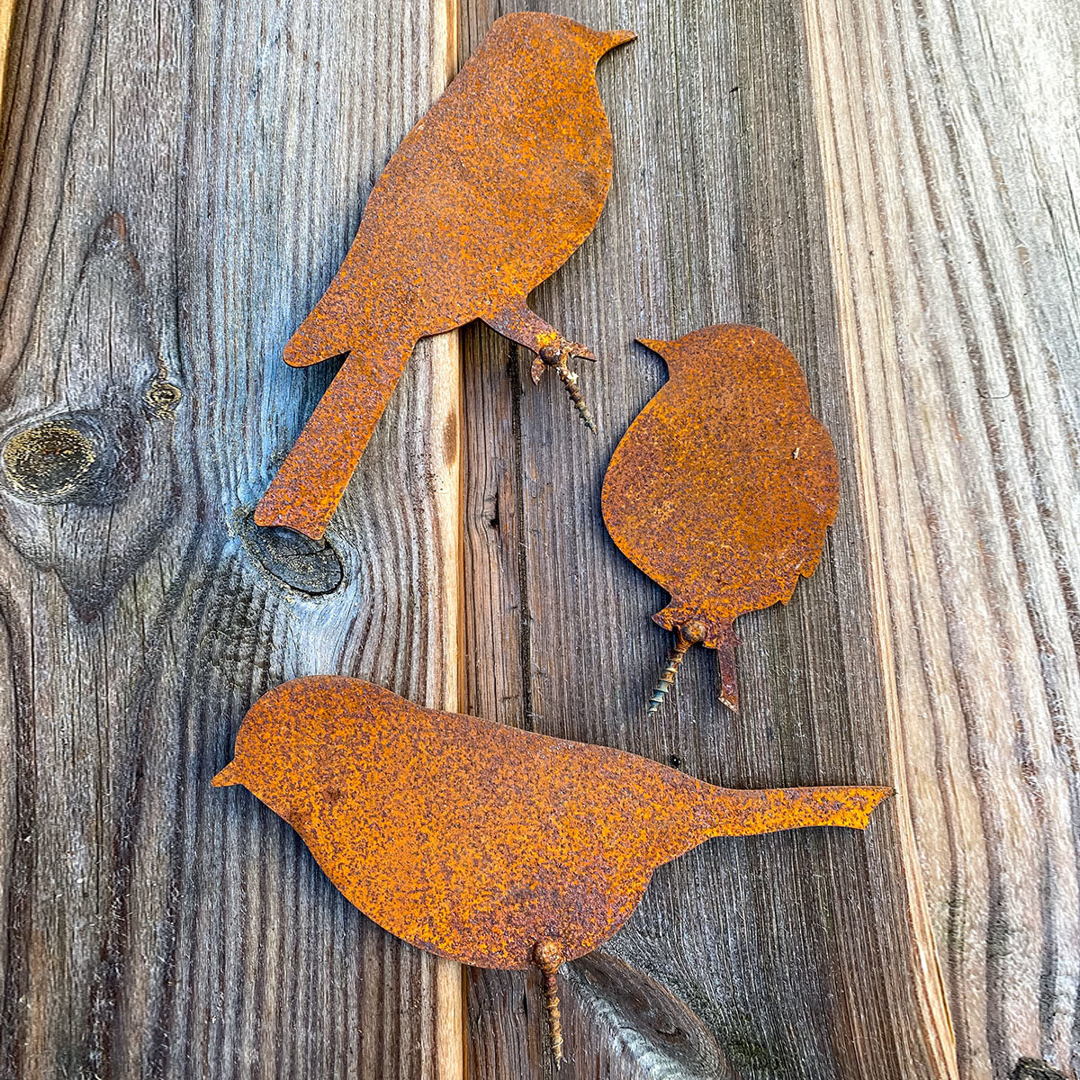 Gartenfiguren Vogel-Trio, mit Schraubgewinde, Edelrost, 3er-Set | #5