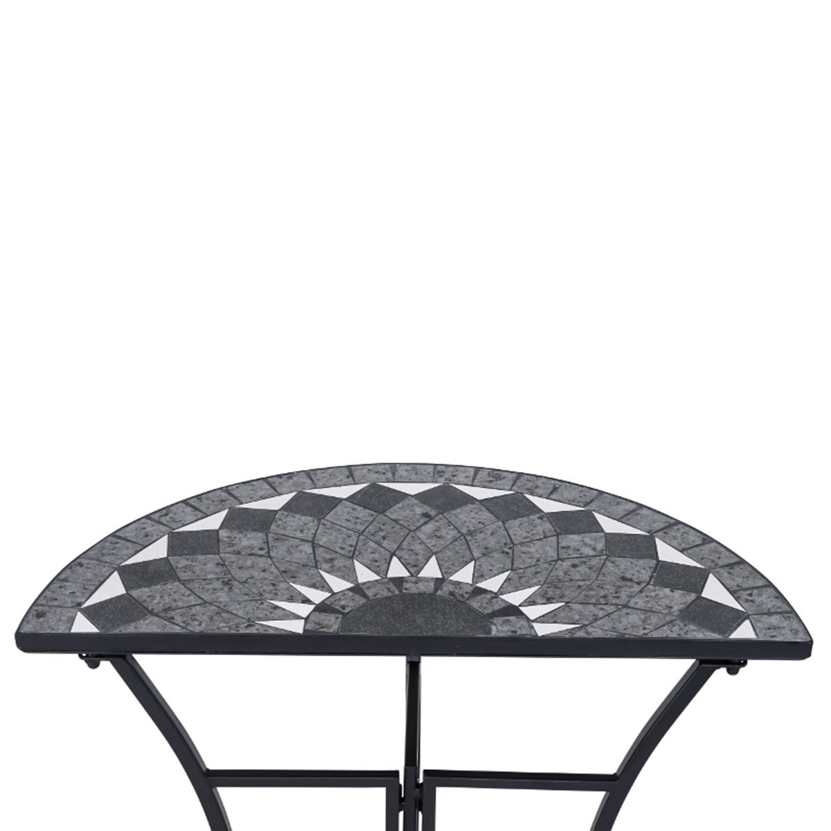 Tisch Mosaik, halbrund, Stahlgestell mit Keramikfläche, ca. 70 x 35 71 cm | #5