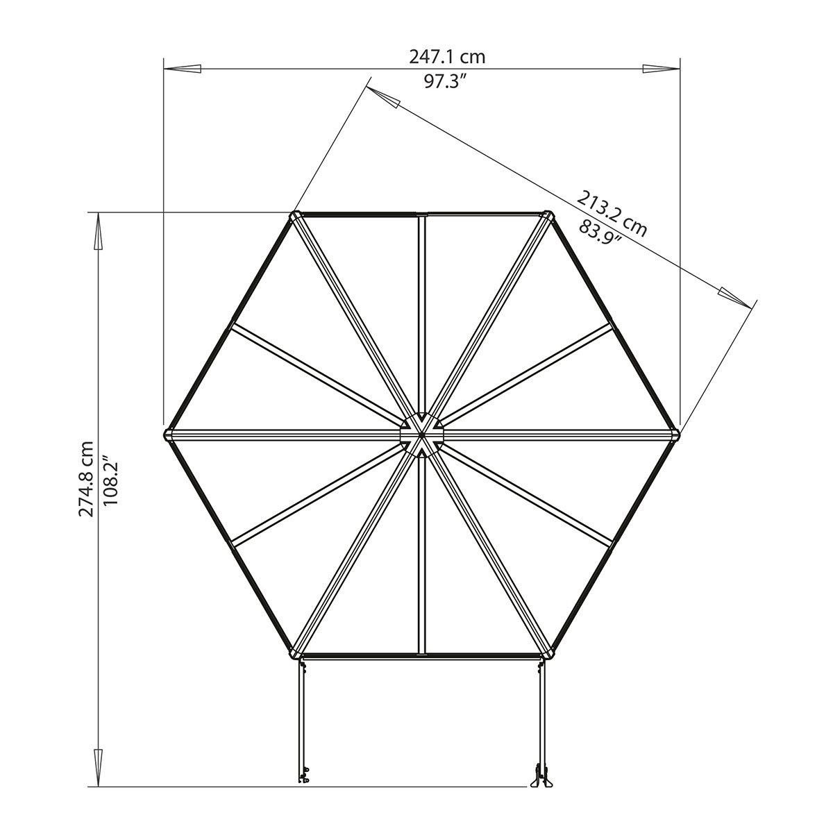 Gewächshaus Oasis Hexagonal, 247 x 213 x 267 cm, Aluminium, anthrazit | #6