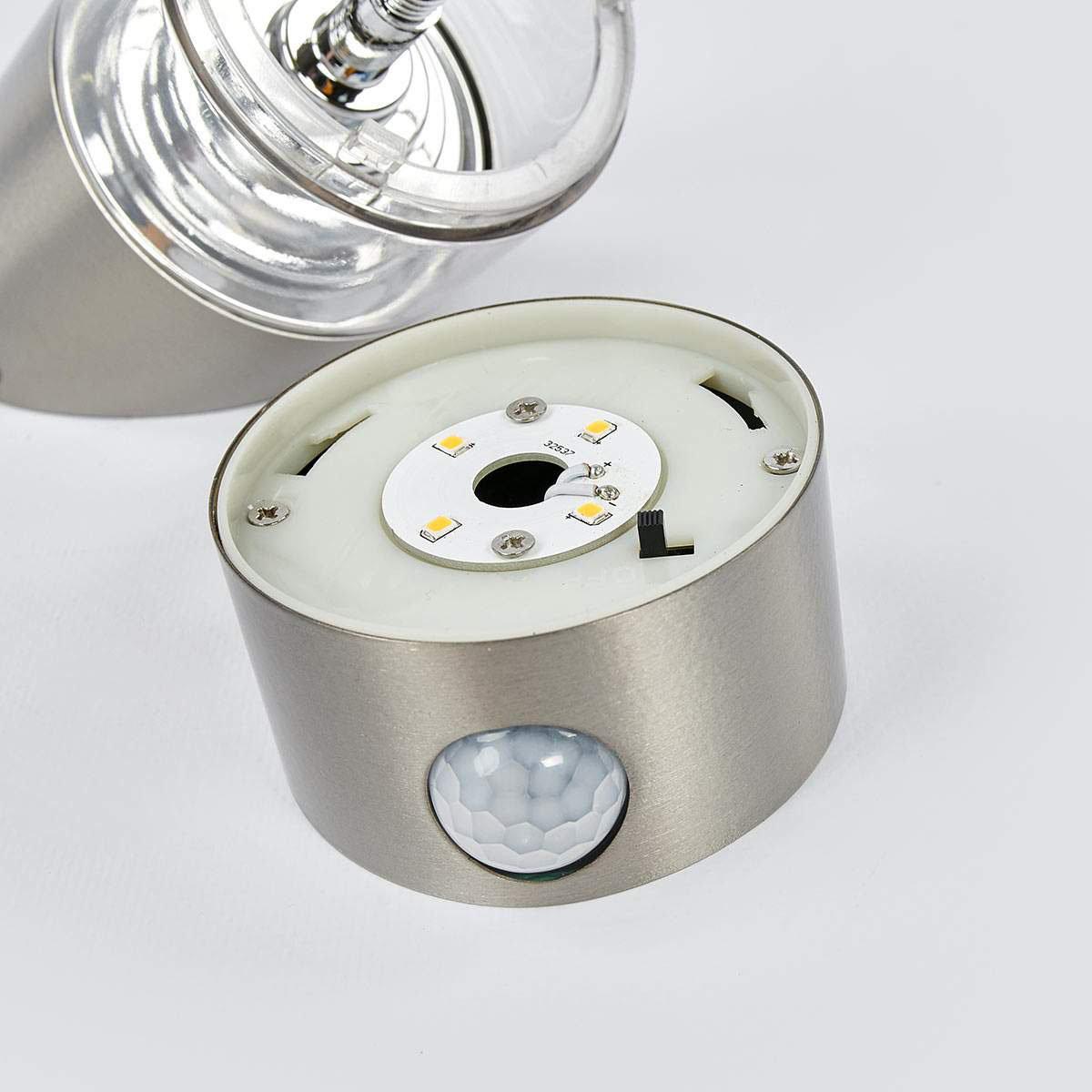 Solar-LED-Wandlampe Kalypso mit Bewegungsmelder, 21,3x7,6x7,6 cm, Edelstahl, silber | #6
