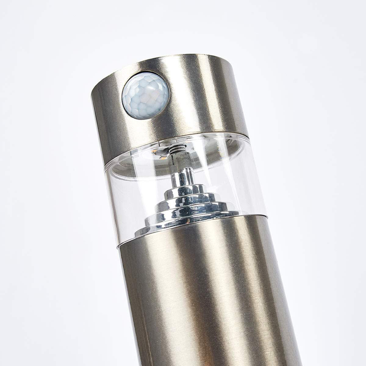 Solar-LED-Sockelleuchte Kalypso mit Bewegungsmelder, 50x7,8x7,8 cm, Edelstahl, silber | #6