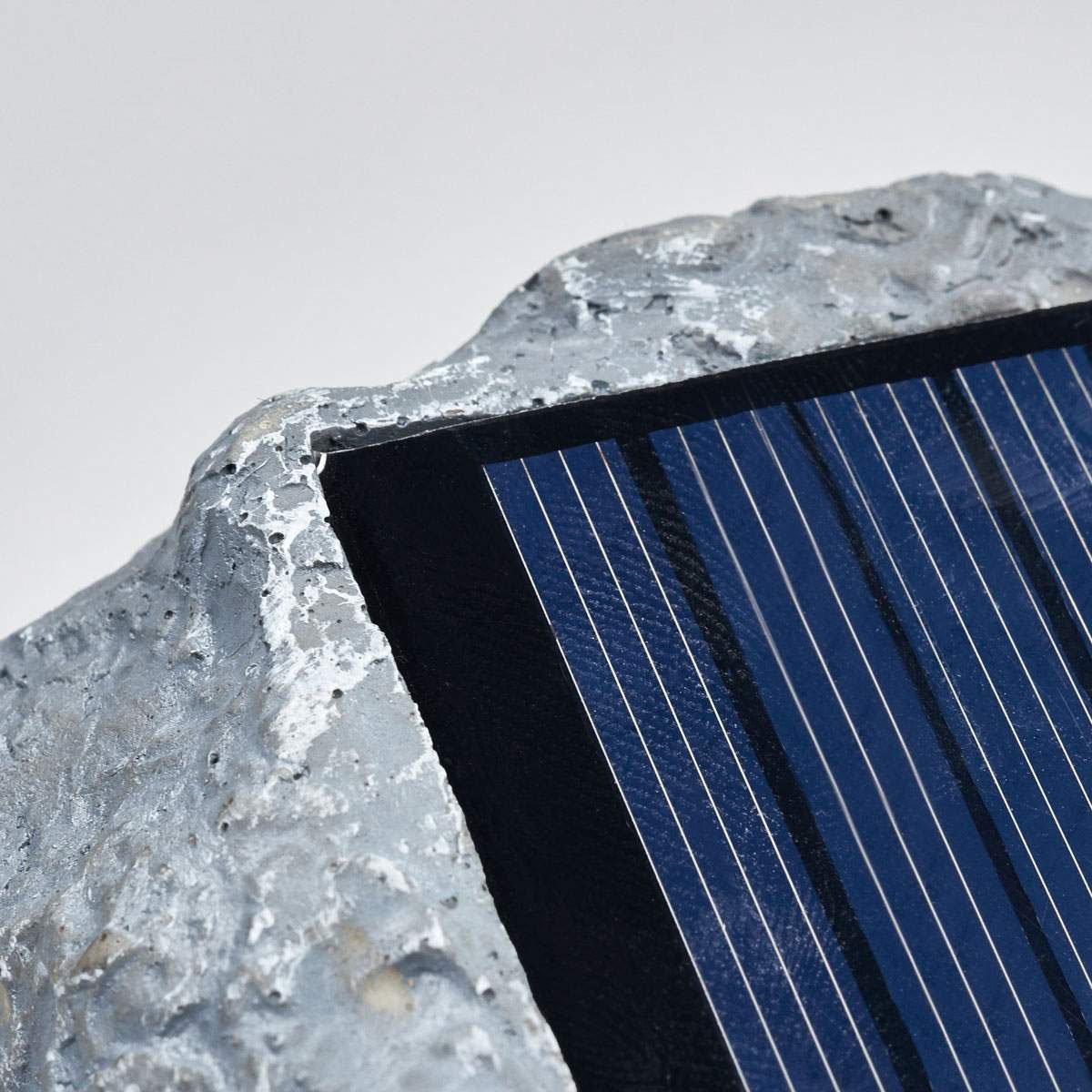 Solar-LED-Leuchtstein Lior, 16x19,5x14 cm, grau | #6