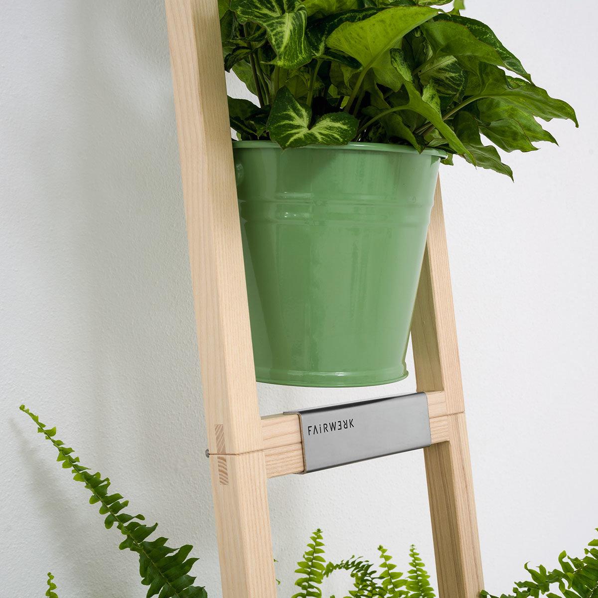 Pflanzleiter mit Topf 2-in-1 ,238x22x42 cm, Eschenholz, blassgrün | #6