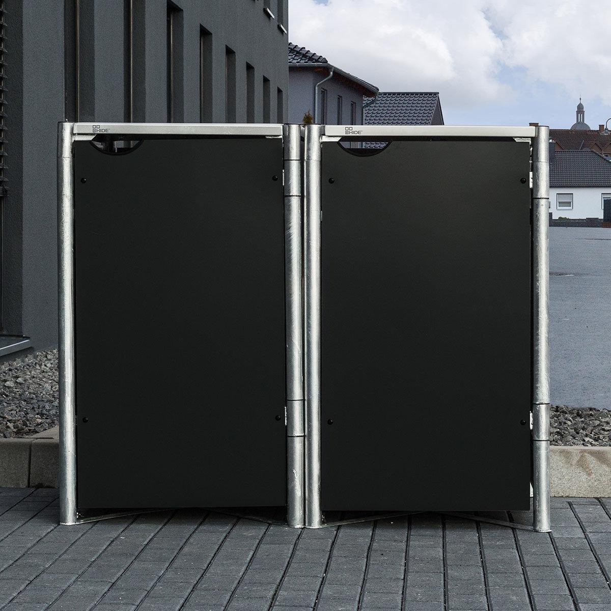 Mülltonnenbox 140l Kunststoff, 2er Box, schwarz | #6