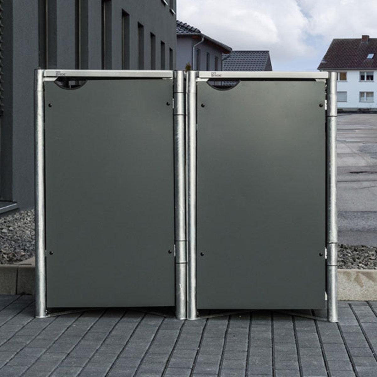 Mülltonnenbox 140l Kunststoff, 2er Box, grau | #6