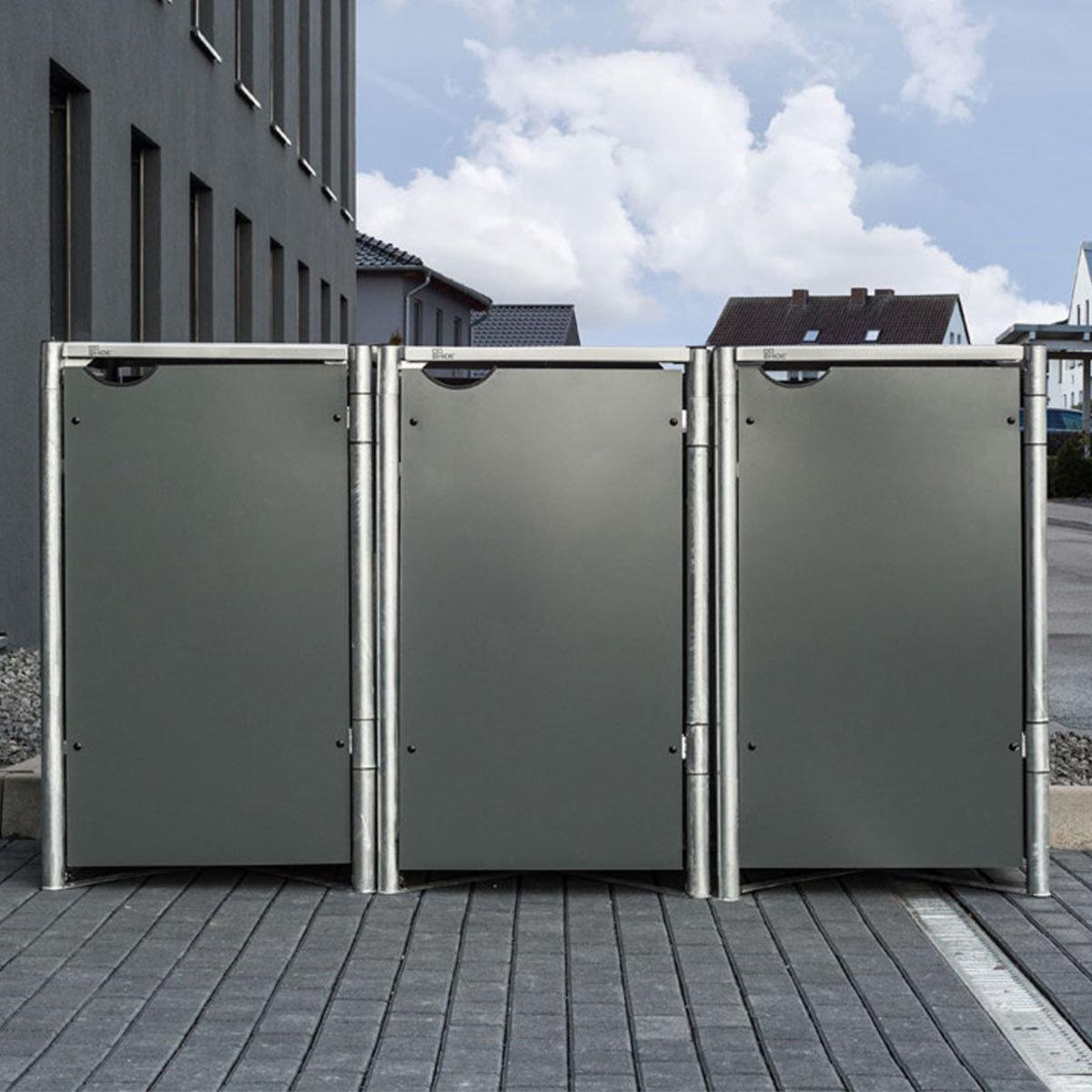 Mülltonnenbox 240l Kunststoff, 3er Box, grau | #6