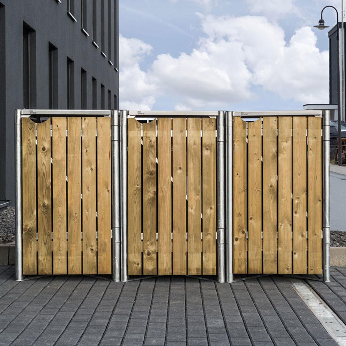 Mülltonnenbox 240l Holz, 3er Box, Natur | #6