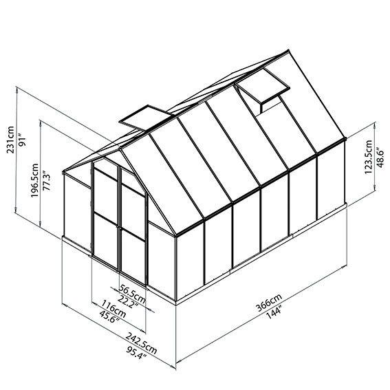 Gewächshaus Essence 8 x 12 inkl. Stahlfundament | #6