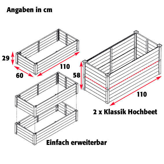 Hochbeet Klassik 3er-Set, rechteckig, stapelbar | #6