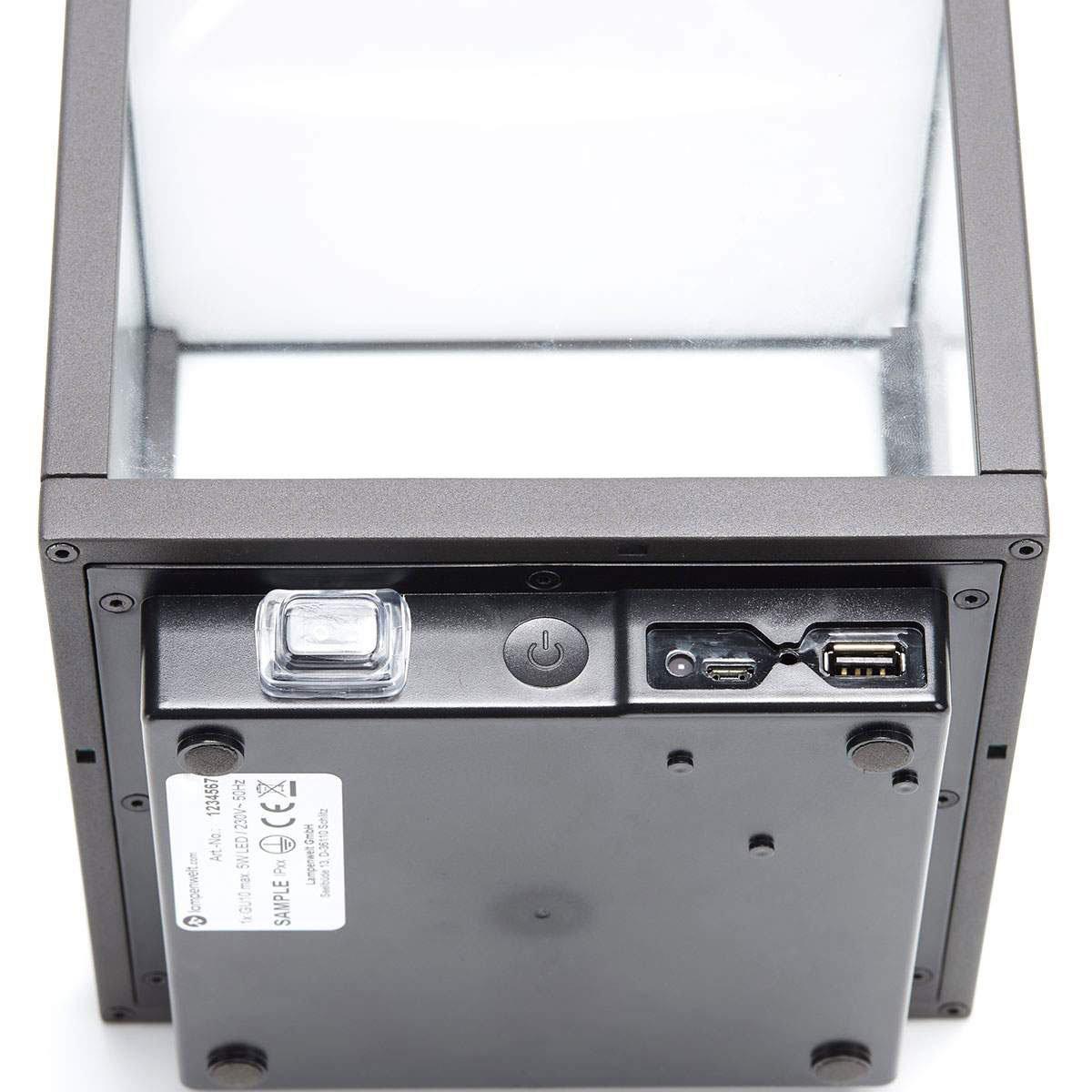 LED Tischleuchte Cube, 26,7x18x18 cm, Aluminium, grau | #7