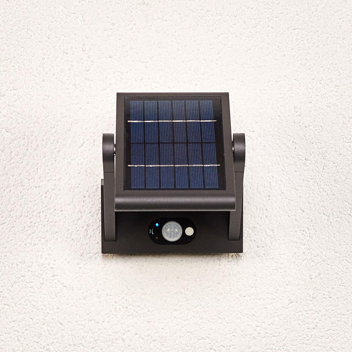 Solar-LED-Außenwandleuchte Valerian mit Bewegungsmelder, 16x23,3x15,2 cm, Aluminium, grau | #7