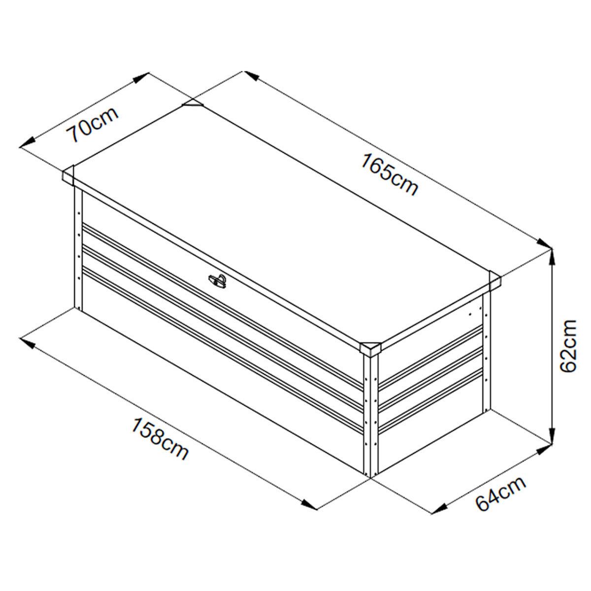 Auflagenbox Mega XXL, mit Bodenplatte, abschließbar, Volumen 600 Liter | #7