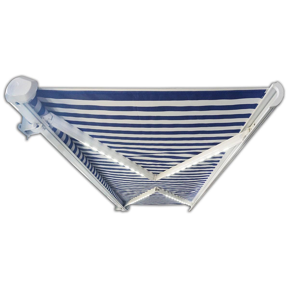 Vollelektrische Kassettenmarkise Elos V2 marineblau-weiß 500 x 300 cm mit Windsensor | #7