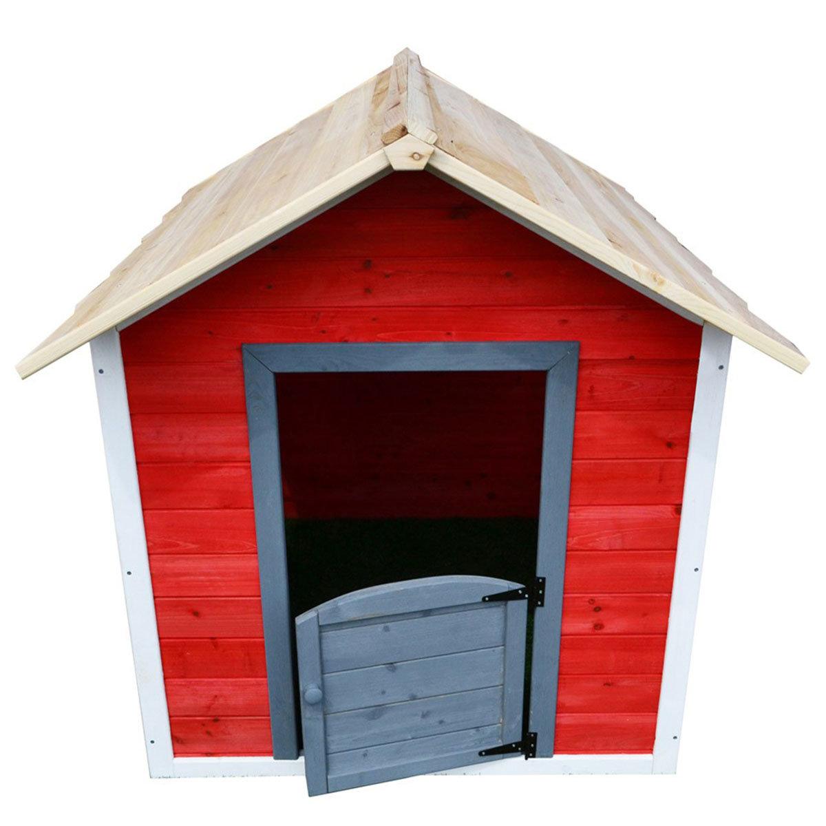 Kinder Spielhaus kleines Schloss, rot und weiß lasiert, ca. 138 x 118 x 132,5 cm | #7