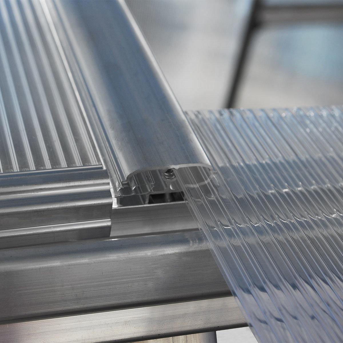 Gewächshaus Multi Line 6 x 14 mit Stahlfundament, 424 x 185 x 209 cm, Aluminium, silber | #7