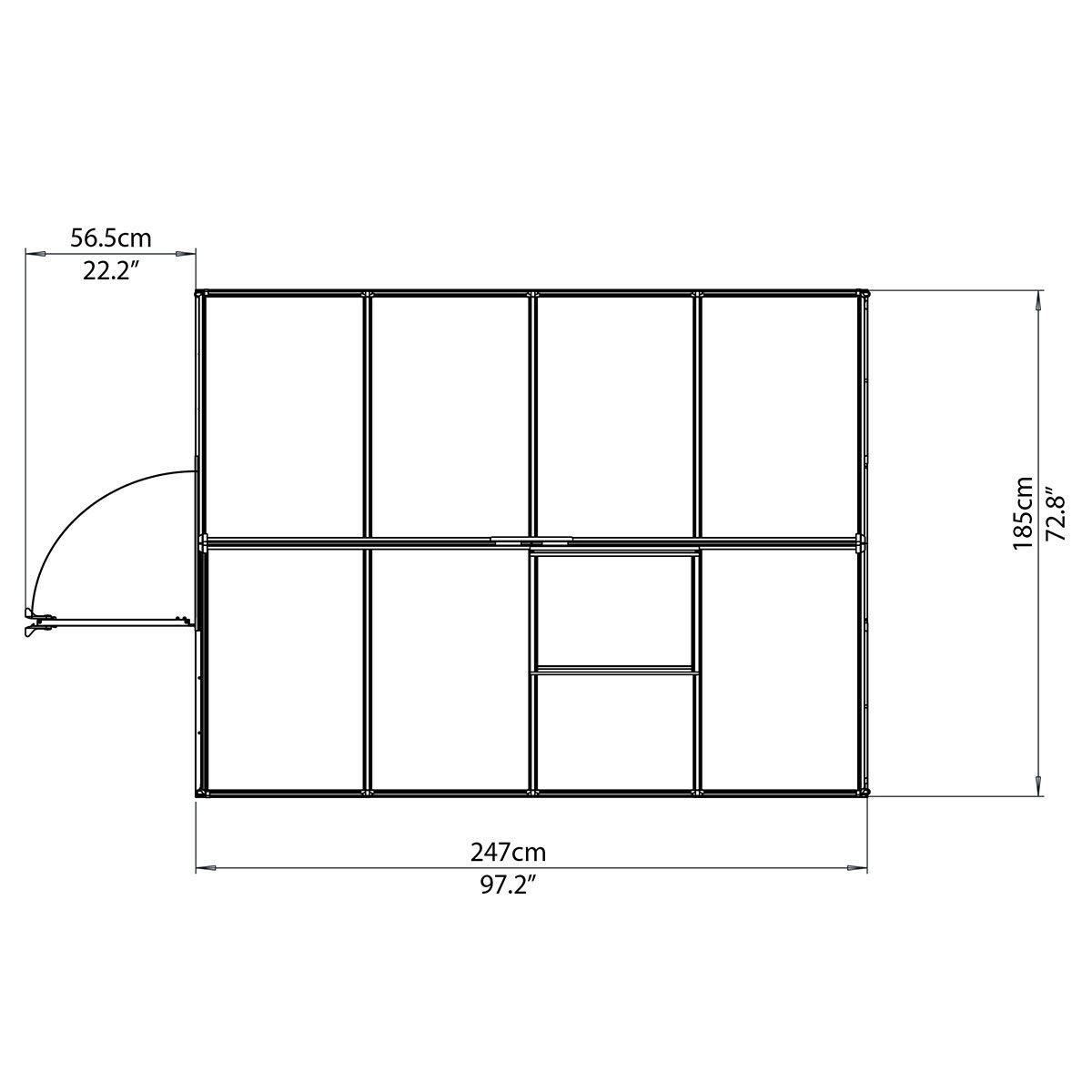 Gewächshaus Multi Line 6 x 8 mit Stahlfundament, 250 x 185 x 209 cm, Aluminium, silber | #7