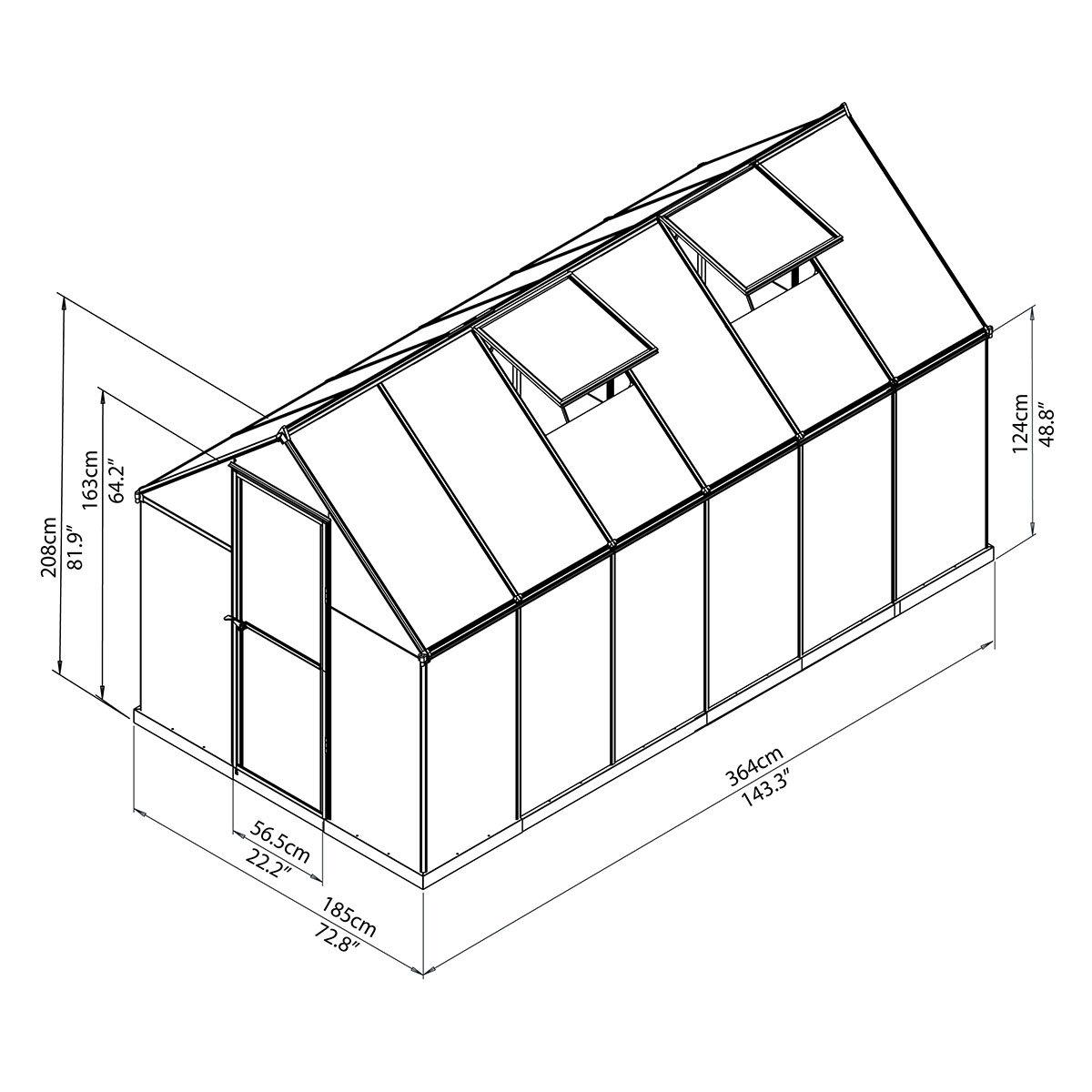 Gewächshaus Multi Line 6 x 12 inkl. Stahlfundament | #7