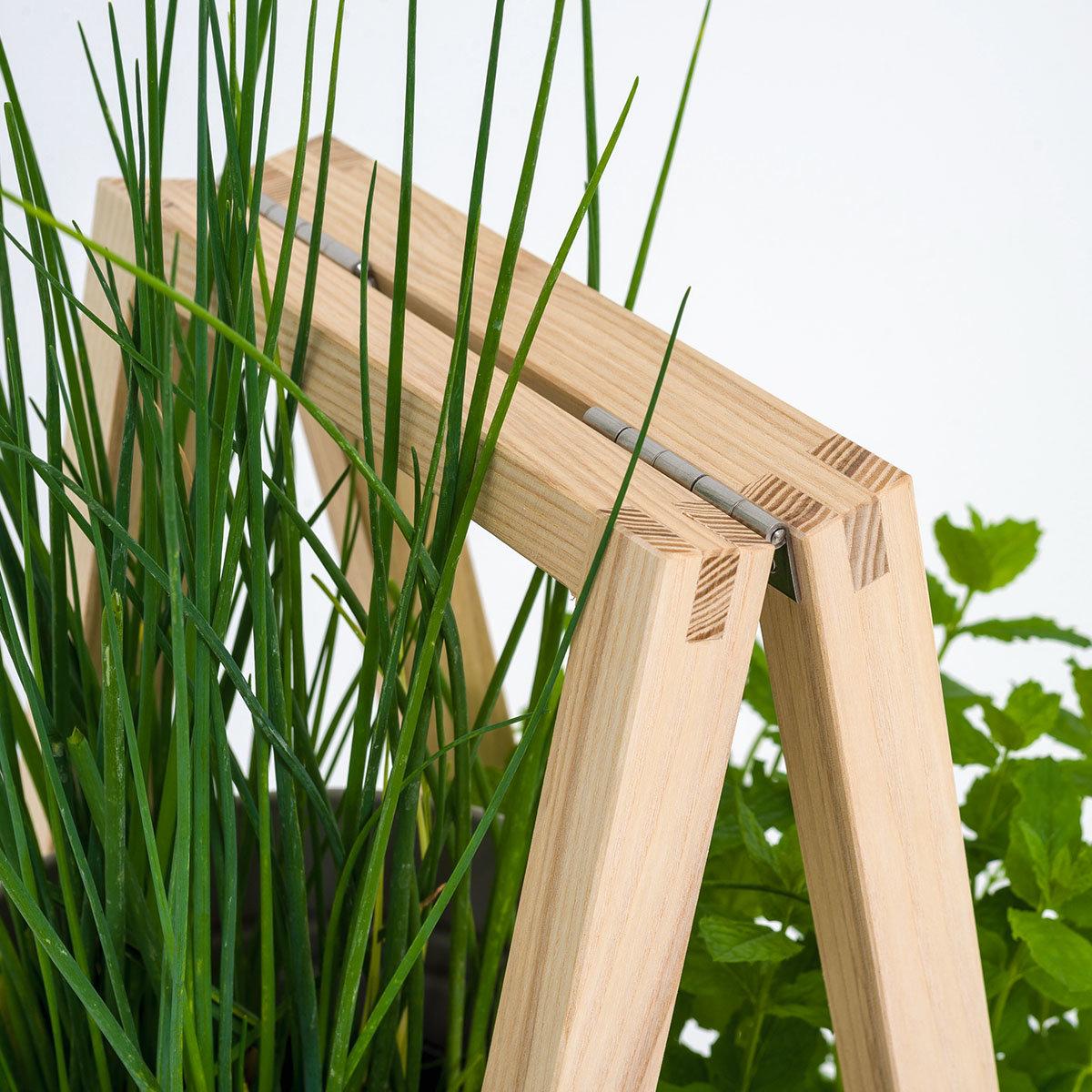 Pflanzleiter mit Topf 2-in-1 ,238x22x42 cm, Eschenholz, blassgrün | #8