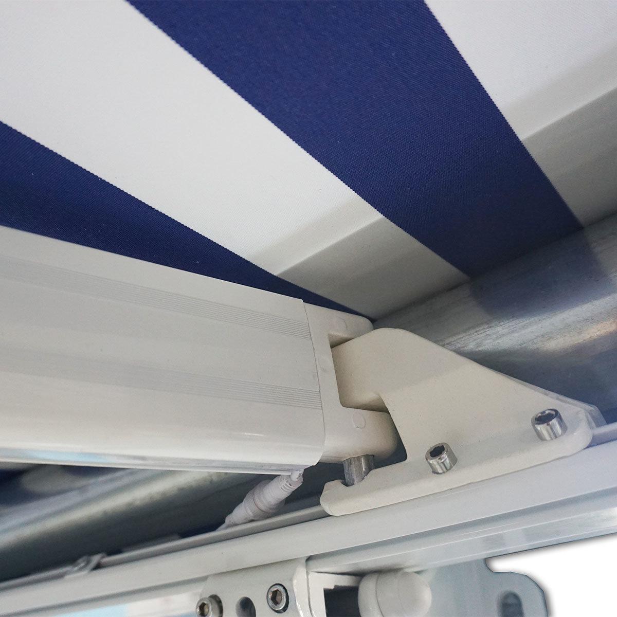 Vollelektrische Kassettenmarkise Elos V2 marineblau-weiß 500 x 300 cm mit Windsensor | #8
