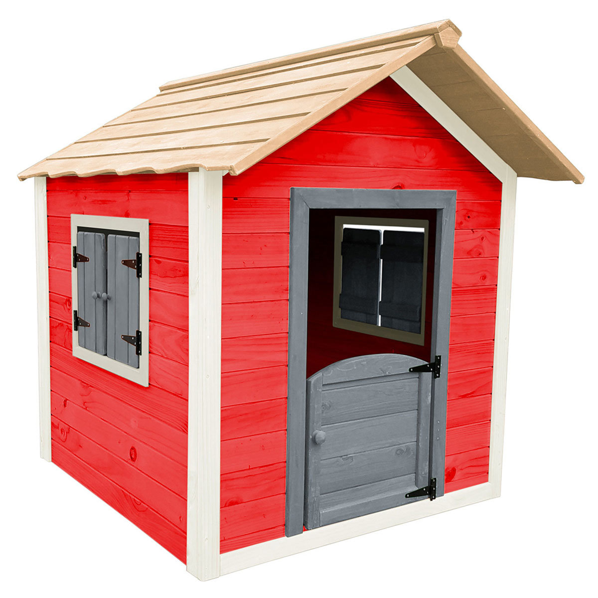 Kinder Spielhaus kleines Schloss, rot und weiß lasiert, ca. 138 x 118 x 132,5 cm | #8