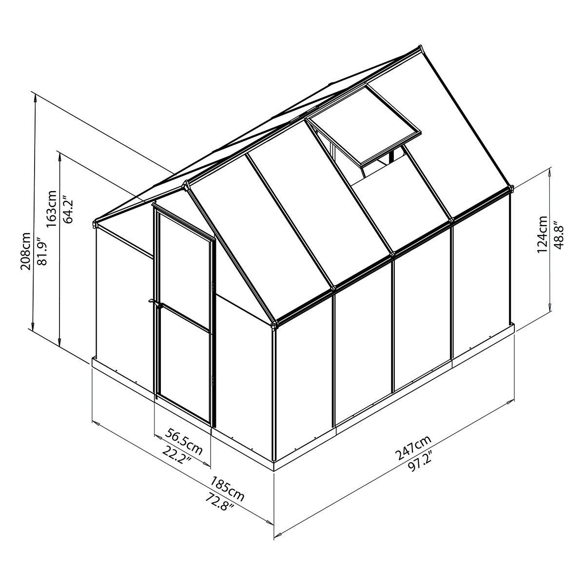 Gewächshaus Multi Line 6 x 8 mit Stahlfundament, 250 x 185 x 209 cm, Aluminium, silber | #8