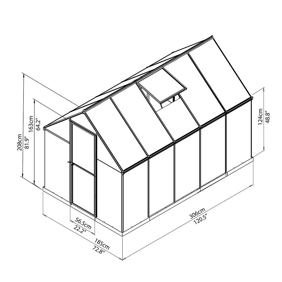 Gewächshaus Multi Line 6 x 10 mit Stahlfundament, 310 x 185 x 209 cm, Aluminium, silber | #8