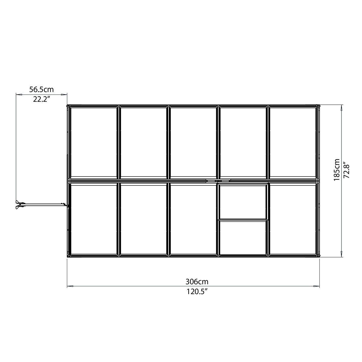 Gewächshaus Multi Line 6 x 10 mit Stahlfundament, 310 x 185 x 209 cm, Aluminium, silber | #9