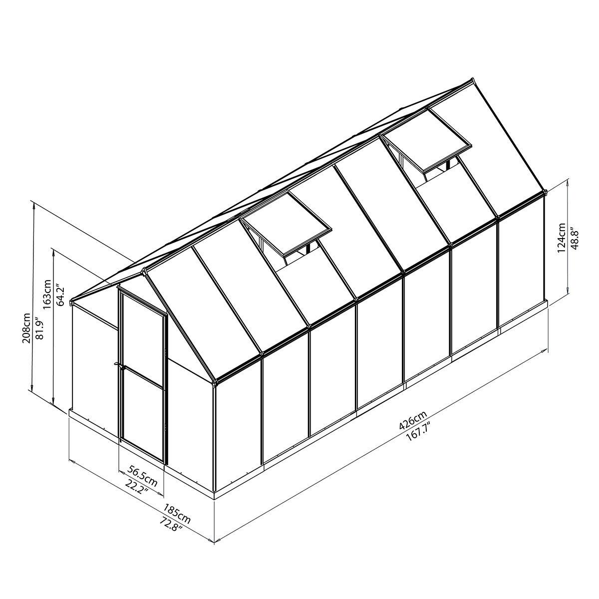 Gewächshaus Multi Line 6 x 14 mit Stahlfundament, 424 x 185 x 209 cm, Aluminium, silber | #9