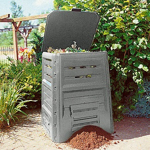 Grauer Plastik-Komposter